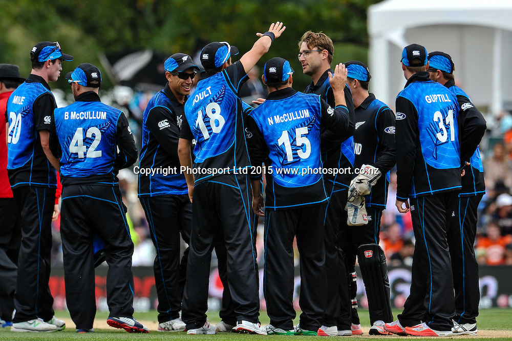 New Zealand celebrates the wicket of T.M Dilshan of Sri Lanka during the ICC Cricket World Cup match between New Zealand and Sri Lanka at Hagley Oval in Christchurch, New Zealand. Saturday 14 February 2015. Copyright Photo: John Davidson / www.Photosport.co.nz