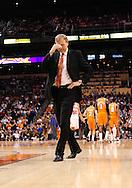 Mar. 26 2010; Phoenix, AZ, USA; New York Knicks head coach Mike D'Antoni reacts in the first half at the US Airways Center.  Mandatory Credit: Jennifer Stewart-US PRESSWIRE.