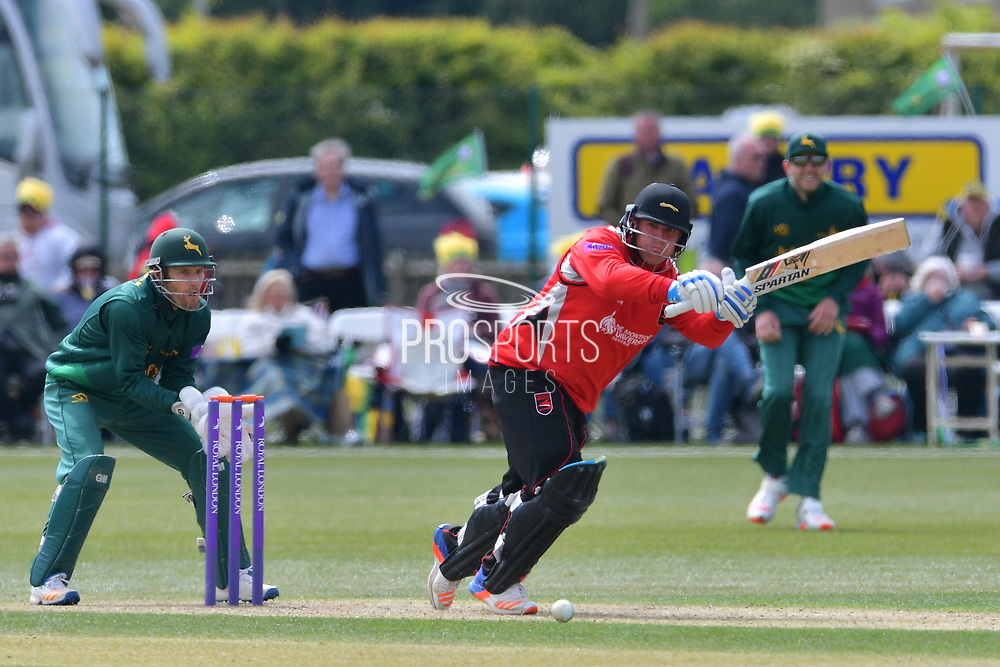 Mark Cosgrove watched on by Chris Read during the Royal London 1 Day Cup match between Nottinghamshire County Cricket Club and Leicestershire County Cricket Club at Wellbeck Colliery Cricket Club, Nettleworth, United Kingdom on 7 May 2017. Photo by Simon Trafford.