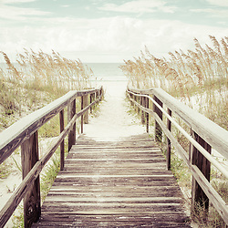 Wood boardwalk walkway beach entrance in Pensacola Beach Florida. Pensacola Beach is on Santa Rosa Island in the Emerald Coast region of the Southeastern United States. VIntage style photo is high resolution. Copyright ⓒ 2018 Paul Velgos with All Rights Reserved.