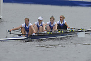 Henley, GREAT BRITAIN. Junior Women's Quadruple Scull. Canford School, leading, Tideway Scullers' School. in their Friday heat. 2012 Henley Royal Regatta. ..Friday  12:18:55  29/06/2012. [Mandatory Credit, Peter Spurrier/Intersport-images]...Rowing Courses, Henley Reach, Henley, ENGLAND . HRR.