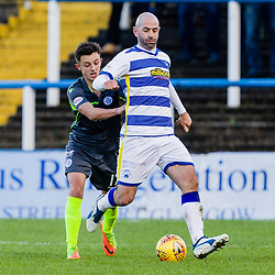 Gary Harkins (14) of Greenock Morton breaks away from Connor Murray (17) of Queen of the South during the Ladbrokes Scottish Championship game between Greenock Morton and Queen of the South at Cappielow Park on 4th November 2017 in Greenock, Scotland.   (c) BERNIE CLARK | SportPix.org.uk