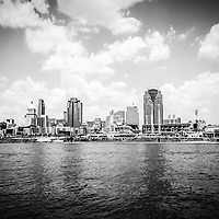 Cincinnati skyline riverfront black and white picture including Great American Ballpark, Great American Insurance Group Tower, PNC Tower building, Omnicare building, US Bank building, Carew Tower building, Scripps Center building, and US Bank Area. Photo was taken in July 2012.