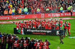 CARDIFF, WALES - Tuesday, October 13, 2015: Wales celebrate after qualifying for the finals following a 2-0 victory over Andorra during the UEFA Euro 2016 qualifying Group B match at the Cardiff City Stadium. Jonathan Williams, Joe Allen, captain Ashley Williams, Joe Ledley, Chris Gunter, Gareth Bale, Aaron Ramsey, Neil Taylor, Andy King, Ben Davies, Tom Lawrence, James Chester, Adam Henley, David Edwards, James Collins. (Pic by Paul Currie/Propaganda)