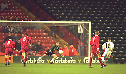 LIVERPOOL, ENGLAND - Tuesday, January 7, 1997: Manchester United's Alexander Notman scores from the penalty spot against Liverpool during the FA Youth Cup match at Anfield. United won 2-1. (Pic by David Rawcliffe/Propaganda)