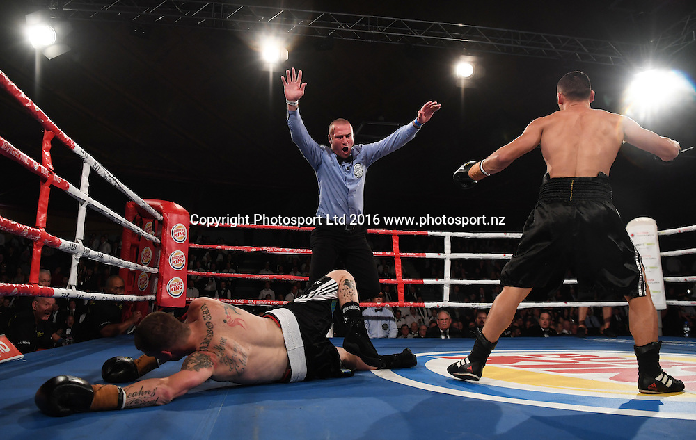 Jordan Tai knocks down Joe Blackbourn. Undercard. Burger King Road to the Title by Duco Boxing. Saturday 21 May 2016. Vodafone Events Centre, Auckland, New Zealand. © Copyright Photo: Andrew Cornaga / www.photosport.nz