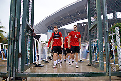 NANNING, CHINA - Saturday, March 24, 2018: Wales' Chris Mepham and Sam Vokes during a training session at the Guangxi Sports Centre ahead of the 2018 Gree China Cup International Football Championship final match against Uruguay. (Pic by David Rawcliffe/Propaganda)