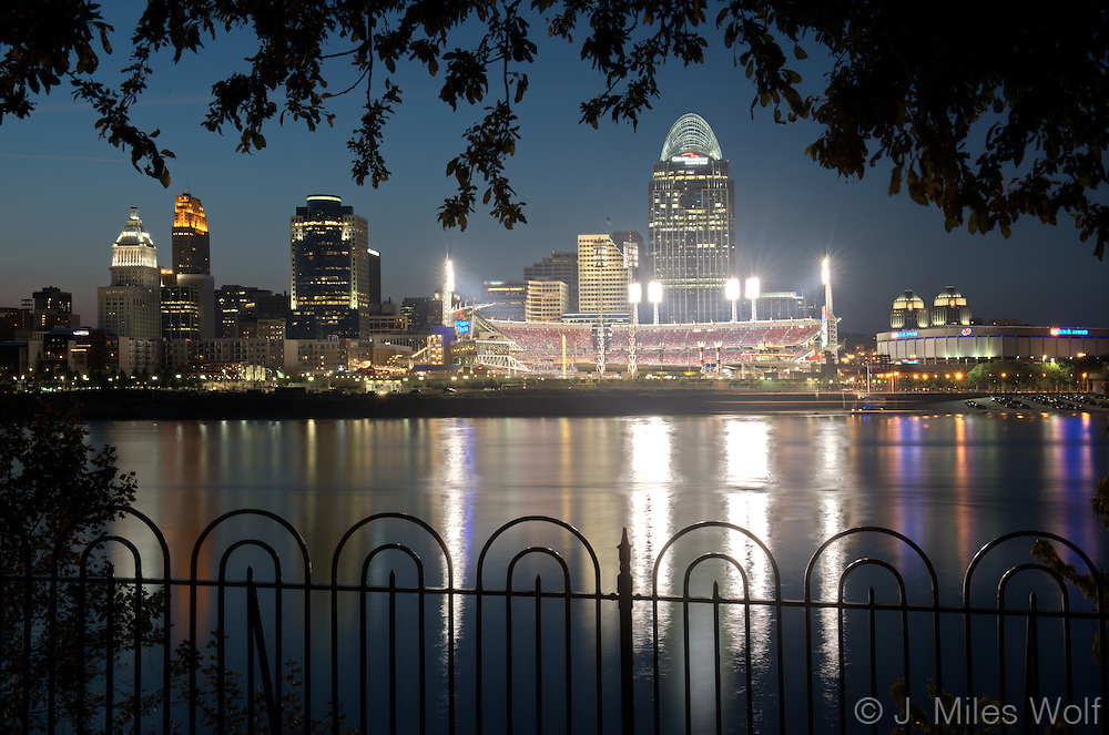 Cincinnati Skyline at night looking at the Great American Ball Park