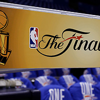 12 June 2012: The NBA Finals Logo is seen prior to Game 1 of the 2012 NBA Finals between the Heat and the Thunder, at the Chesapeake Energy Arena, Oklahoma City, Oklahoma, USA.