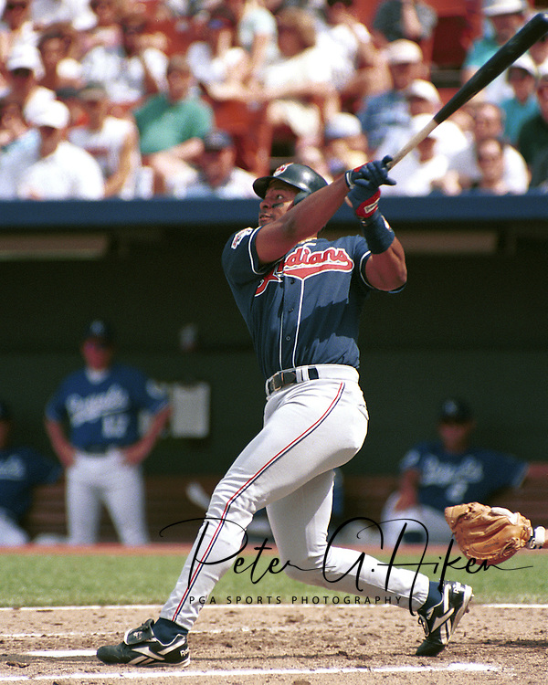 Cleveland Indian Albert Belle during game action against the Kansas City Royals at Kauffman Stadium in Kansas City, Missouri in 1995.