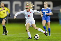 NORMAL, IL - October 17:  Alix McArthur during an NCAA Missouri Valley Conference (MVC)  women's soccer match between the Indiana State Sycamores and the Illinois State Redbirds October 17 2018 on Adelaide Street Field in Normal IL (Photo by Alan Look)