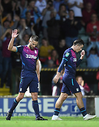 Aston Villa's Conor Hourihane celebrates his goal during the Carabao Cup, First Round match at Huish Park, Yeovil.
