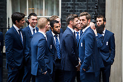 © Licensed to London News Pictures. 21/09/2015. Westminster, UK. England's men's and women's cricket teams arrive on at 10 Downing Street in Westminster ahead of a reception with British prime minister David Cameron. Photo credit: Ben Cawthra/LNP
