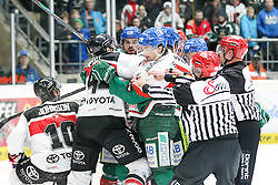 12.12.2014, Curt Fenzel Stadion, Augsburg, GER, DEL, Augsburger Panther vs Koelner Haie, 26. Runde, im Bild l-r: Rangelei, Jamie Johnson #10 (Koelner Haie), Chris Minard #41 (Koelner Haie), Daniel Weiss #57 (Augsburger Panther), Adrian Grygiel #83 (Augsburger Panther) // during Germans DEL Icehockey League 26th round match between Augsburger Panther vs Koelner Haie at the Curt Fenzel Stadion in Augsburg, Germany on 2014/12/12. EXPA Pictures © 2014, PhotoCredit: EXPA/ Eibner-Pressefoto/ Kolbert<br /> <br /> *****ATTENTION - OUT of GER*****