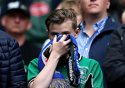 A Plymouth Argyle fan looks dejected as his side lose in the League Two Playoff Final - Mandatory by-line: Robbie Stephenson/JMP - 30/05/2016 - FOOTBALL - Wembley Stadium - London, England - AFC Wimbledon v Plymouth Argyle - Sky Bet League Two Play-off Final
