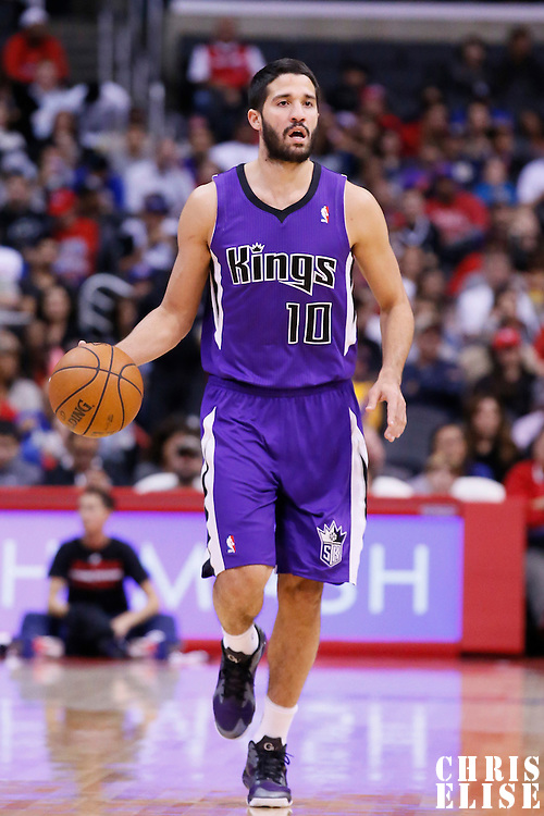 23 November 2013: Sacramento Kings point guard Greivis Vasquez (10) dribbles during the Los Angeles Clippers 103-102 victory over the Sacramento Kings at the Staples Center, Los Angeles, California, USA.