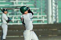 KELOWNA, BC - JULY 24: Christian Padilla #14 of the Yakima Valley Pippins swings the bat against the the Kelowna Falcons at Elks Stadium on July 24, 2019 in Kelowna, Canada. (Photo by Marissa Baecker/Shoot the Breeze)