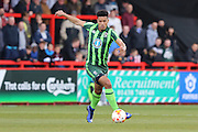 Lyle Taylor forward for AFC Wimbledon (33) during the Sky Bet League 2 match between Stevenage and AFC Wimbledon at the Lamex Stadium, Stevenage, England on 30 April 2016. Photo by Stuart Butcher.