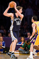 27 March 2007: Center Pau Gasol of the Memphis Grizzlies looks to pass against the Los Angeles Lakers during the first half of the Grizzlies 88-86 victory over the Lakers at the STAPLES Center in Los Angeles, CA.