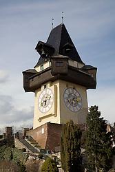 15.03.2011, Graz, AUT, Feature, im Bild das Grazer Wahrzeichen der Uhrturm am Schlossberg in Graz, EXPA Pictures © 2012, PhotoCredit: EXPA/ Erwin Scheriau