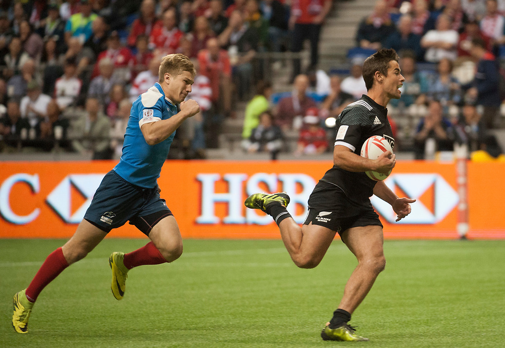 Andrew Knewstubb of New Zealand scores a try against Russia during the pool stages of the Canada Sevens,  Round Six of the World Rugby HSBC Sevens Series in Vancouver, British Columbia, Saturday March 11, 2017. <br /> <br /> Jack Megaw.<br /> <br /> www.jackmegaw.com<br /> <br /> jack@jackmegaw.com<br /> @jackmegawphoto<br /> [US] +1 610.764.3094<br /> [UK] +44 07481 764811