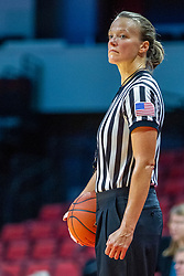 NORMAL, IL - November 20:  Referee Molly Caldwell readies to start the 2nd half during a college women's basketball game between the ISU Redbirds and the Huskies of Northern Illinois November 20 2019 at Redbird Arena in Normal, IL. (Photo by Alan Look)