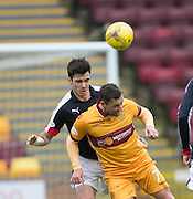Dundee&rsquo;s Julen Etxabeguren beats Motherwell&rsquo;s Scott McDonald in the air - Motherwell v Dundee in the Ladbrokes Scottish Premiership at Fir Park, Motherwell.Photo: David Young<br /> <br />  - &copy; David Young - www.davidyoungphoto.co.uk - email: davidyoungphoto@gmail.com