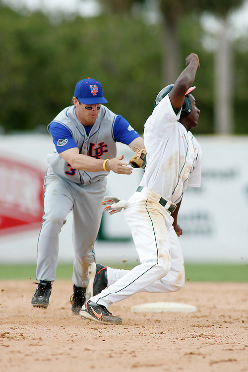 University of Florida second baseman Brandon McArthur tags out University of Miami second baseman Jemile Weeks during the Gators 2-1 victory over the Miami Hurricanes on February 17, 2006 at Mark Light Field in Coral Gables, Florida.