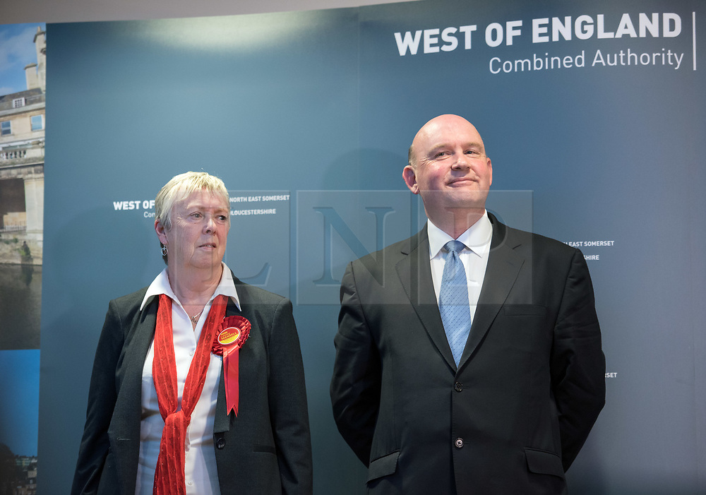 © Licensed to London News Pictures. 05/05/2017. Bristol, UK. TIM BOWLES (right) for the Conservatives wins the West of England Combined Authority Mayoral election 2017 from Labour's LESLEY MANSELL (left) at the second round of counting. The candidates are: Tim Bowles -Conservative Party; Aaron Warren Foot - UK Independence Party (UKIP); Darren Edward Hall - Green Party; Lesley Ann Mansell - Labour and Co-operative Party; John Christopher Savage - Independent; Stephen Williams - Liberal Democrats. Photo credit : Simon Chapman/LNP