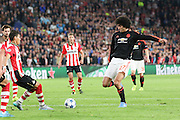 Marouane Fellaini of Manchester United shoots at goal during the Champions League Group B match between PSV Eindhoven and Manchester United at Philips Stadion, Eindhoven, Netherlands on 15 September 2015. Photo by Phil Duncan.