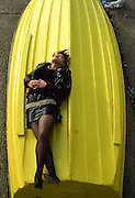 Kelly on a Yellow Boat, High Wycombe, UK, 1980s.