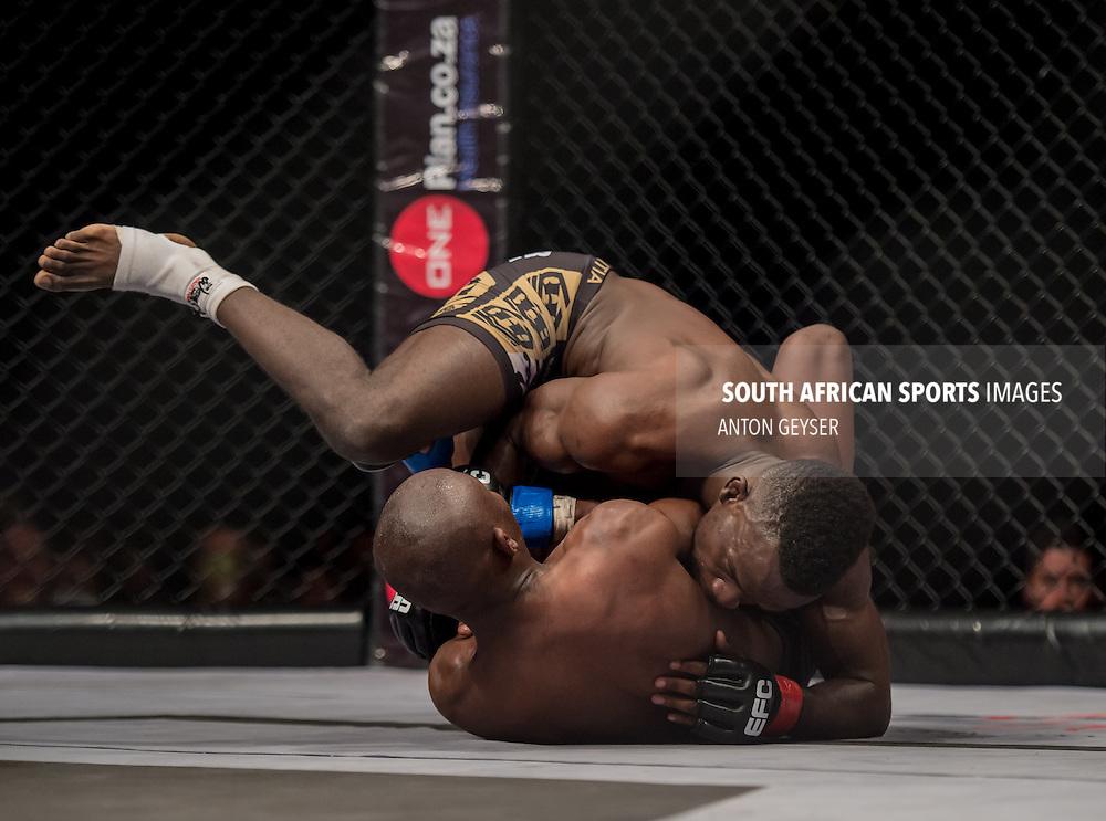 20140703, JOHANNESBURG: Bout 12: Nkazimulo Zulu vs. Demarte Pena - Bantamweight, action during EFC Africa 31, The Coca-Cola Dome, Johannesburg. <br /> (Photo by Anton Geyser / EFC Africa 2014)