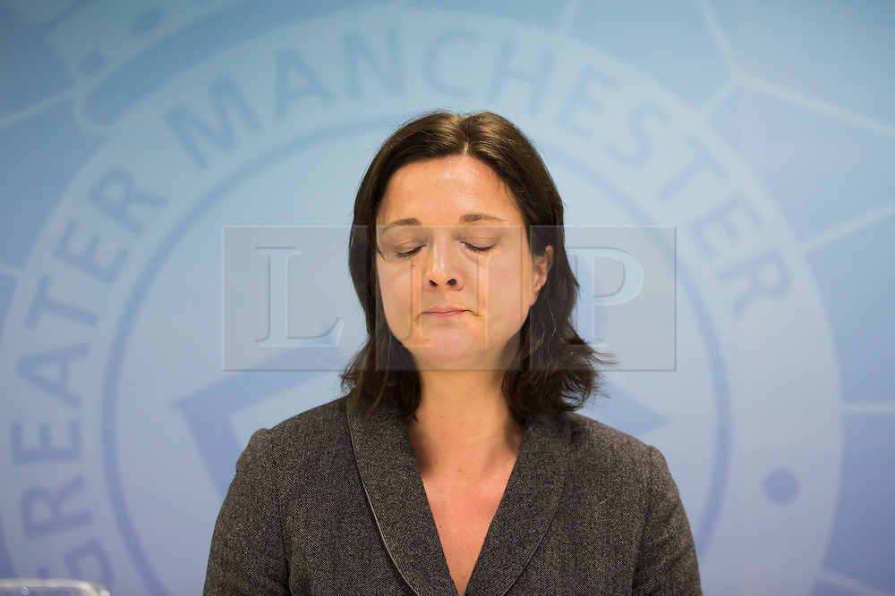 "© Licensed to London News Pictures. 30/01/2017. Manchester UK. Assistant Chief Constable Rebekah Sutcliffe reads a statement at Manchester Police Headquarters this afternoon after she is allowed to keep her job & is given a final written warning. ACC Sutcliffe appeared at a further Gross Misconduct hearing today. Chief Constable Sutcliffe has all ready been found guilty of Gross Misconduct after telling Superintendent Sarah Jackson she was ""silly, vain & frivolous"" for getting breast implants during a senior Women in Policing conference. Today's hearing will determine what disciplinary action should be imposed on ACC Sutcliffe. Photo credit: Andrew McCaren/LNP"