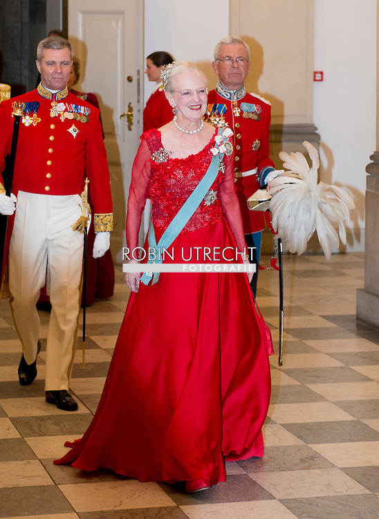15-4-2015 - COPENHAGEN - Queen Margrethe II at the Christiansborg Palace for a diner  , attent the 75 th Birthday celebration of of Queen Margrethe II . COPYRIGHT ROBIN UTRECHT