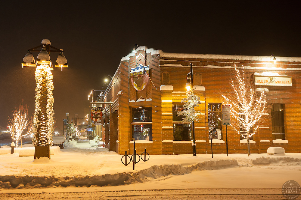 """""""Downtown Truckee 13"""" - Photograph of a snow covered sidewalk by Bar of America in Downtown Truckee, CA. Photographed in the early morning."""