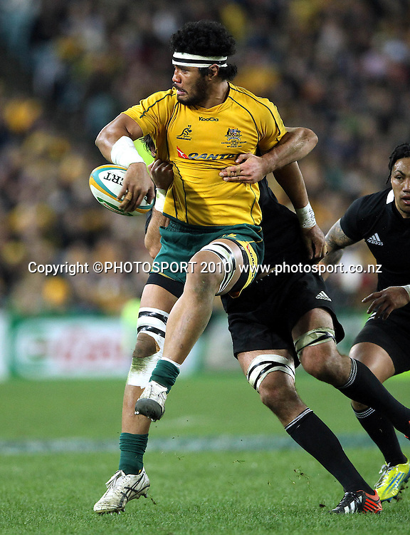 Sitaleki Timani takes on Sam Whitelock<br /> International Test rugby union match, Australia v New Zealand, Sydney, Australia. Saturday 18 August 2012. Photo: Paul Seiser/PHOTOSPORT