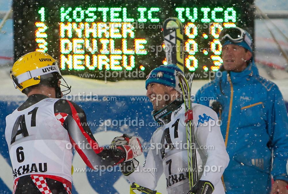 21.12.2011, Hermann Maier Weltcup Strecke, Flachau, AUT, FIS Weltcup Ski Alpin, Herren, Slalom, im Bild Ivica Kostelic (CRO) und Cristian Deville (ITA) nach dem 2. Durchgang // Ivica Kostelic of Croatia and Cristian Deville of Italy after 2nd run of Slalom race at FIS Ski Alpine World Cup 'Hermann Maier World Cup' course in Flachau, Austria on 2011/12/21. EXPA Pictures © 2011, PhotoCredit: EXPA/ Johann Groder