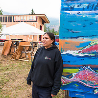 """Mayuk Manuel and """"Tiny Houses"""" being built by First Nations in Secwepemc territory to protest Kinder Morgans proposed construction of the Trans Mountian pipeline twinning. They plan to build ten tiny homes to be placed along and block construction of the pipeline route through Secwepemc territory. Begun by the Mayuk Manuel and her twin sister Kanahus, and with support from Mayuk's partner Isha Jules, they call themselves the Tiny House Warriors. PLEASE NOTE. NOT MODEL RELEASED. please contact those photographed for permission to publish."""