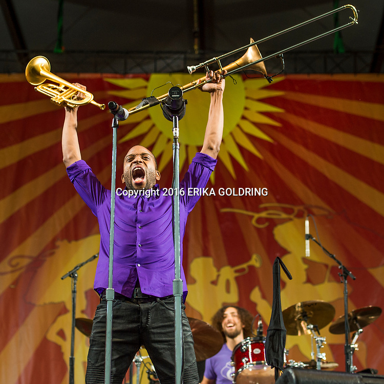 Trombone Shorty & Orleans Avenue performs on Day 7 of the New Orleans Jazz & Heritage Festival at the Fairgrounds Racetrack on May 1, 2016, in New Orleans, LA.
