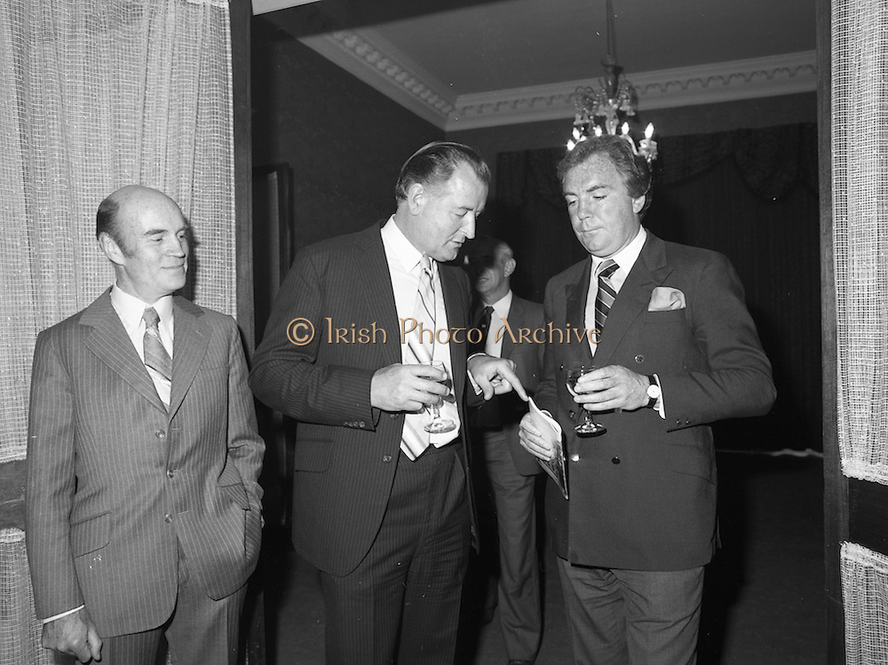 31/05/1982<br /> 05/31/1982<br /> 31 May 1982 <br /> Bord Bainne 21st anniversary. Leading representatives of the Dairy industry, farming organisations, business and Government attended a special luncheon in the Shelbourne Hotel, Dublin to celebrate the 21st anniversary of the establishment of An Bord Bainne. Speaking at the event was Tony O'Reilly, First general Manager of An Bord Bainne, seen on the right.