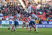Rochdale defender Ryan Delaney (5) heading the ball clear during the EFL Sky Bet League 1 match between Charlton Athletic and Rochdale at The Valley, London, England on 4 May 2019.