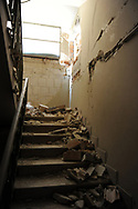 A staircase of a building several damaged by the quake in L'Aquila city centre.