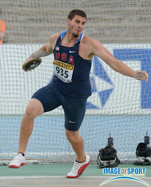 BARCELONA, Spain: Thursday 12 July 2012, Dalton Rowan (935) (USA) in the mens discus during the afternoon session of day 3 of the IAAF World Junior Championships at the Estadi Olimpic de Montjuic.<br /> Mandatory Credit: Roger Sedres/Image SA-Image of Sport
