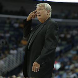 05 October 2008:  Golden State Warriors coach Don Nelson signals to his players during a NBA preseason game between the Golden State Warriors and the New Orleans Hornets at at the New Orleans Arena in New Orleans, LA..