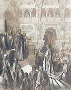 Machine Colourized (AI) Solomon Receiving the Queen of Sheba 2 Chronicles 9:1-2 From the book 'Bible Gallery' Illustrated by Gustave Dore with Memoir of Dore and Descriptive Letter-press by Talbot W. Chambers D.D. Published by Cassell & Company Limited in London and simultaneously by Mame in Tours, France in 1866