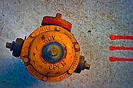 Birdseye view of an orange fire hydrant