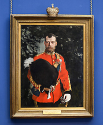 Pictured: The portrait as it goes on display.<br /> <br /> The Scottish National Gallery has unveiled details of a loan deal that will see Valentin Serov's rare portrait of Tsar Nicholas II go on display. The painting is owned by the Royal Scots Dragoon Guards Regimental Trust.<br /> <br /> &copy; Dave Johnston / EEm