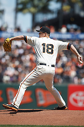 SAN FRANCISCO, CA - APRIL 24: Matt Cain #18 of the San Francisco Giants pitches against the Miami Marlins during the first inning at AT&T Park on April 24, 2016 in San Francisco, California.  (Photo by Jason O. Watson/Getty Images) *** Local Caption *** Matt Cain