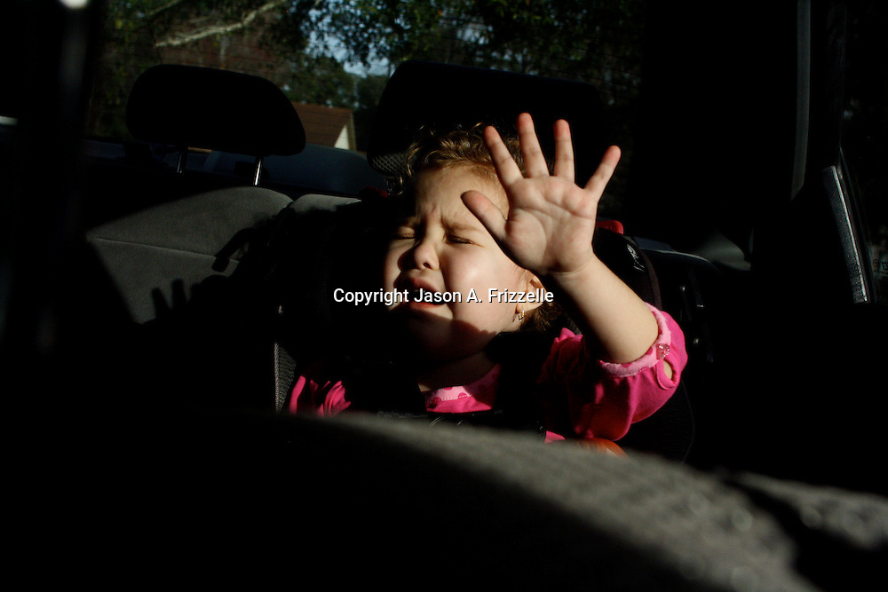 Holly Larue Frizzelle, 2, throws a tantrum before leaving her home for an appointment at the UNC Cancer Hospital. The steroids she was taking caused uncontrollable mood swings. On December 27, 2012 two year old Holly Larue Frizzelle was diagnosed with Acute Lymphoblastic Leukemia. What began as a stomach ache and visit to her regular pediatrician led to a hospital admission, transport to the University of North Carolina Children's Hospital, and more than two years of treatment.