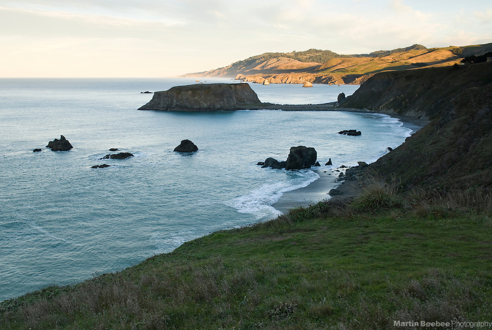 Morning light on coastal bluffs above Goat Rock, Goat Rock State Beach, Sonoma County, California